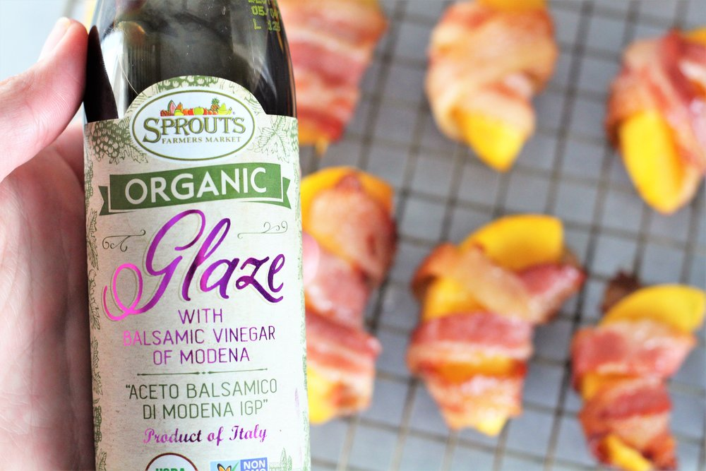 bacon wrapped balsamic peaches