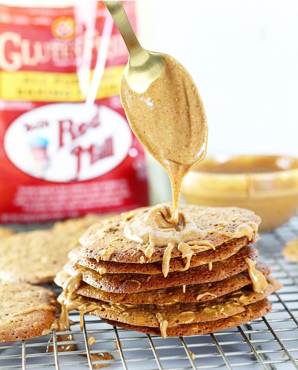 Gluten Free Oatmeal Peanut Butter Lace Cookies