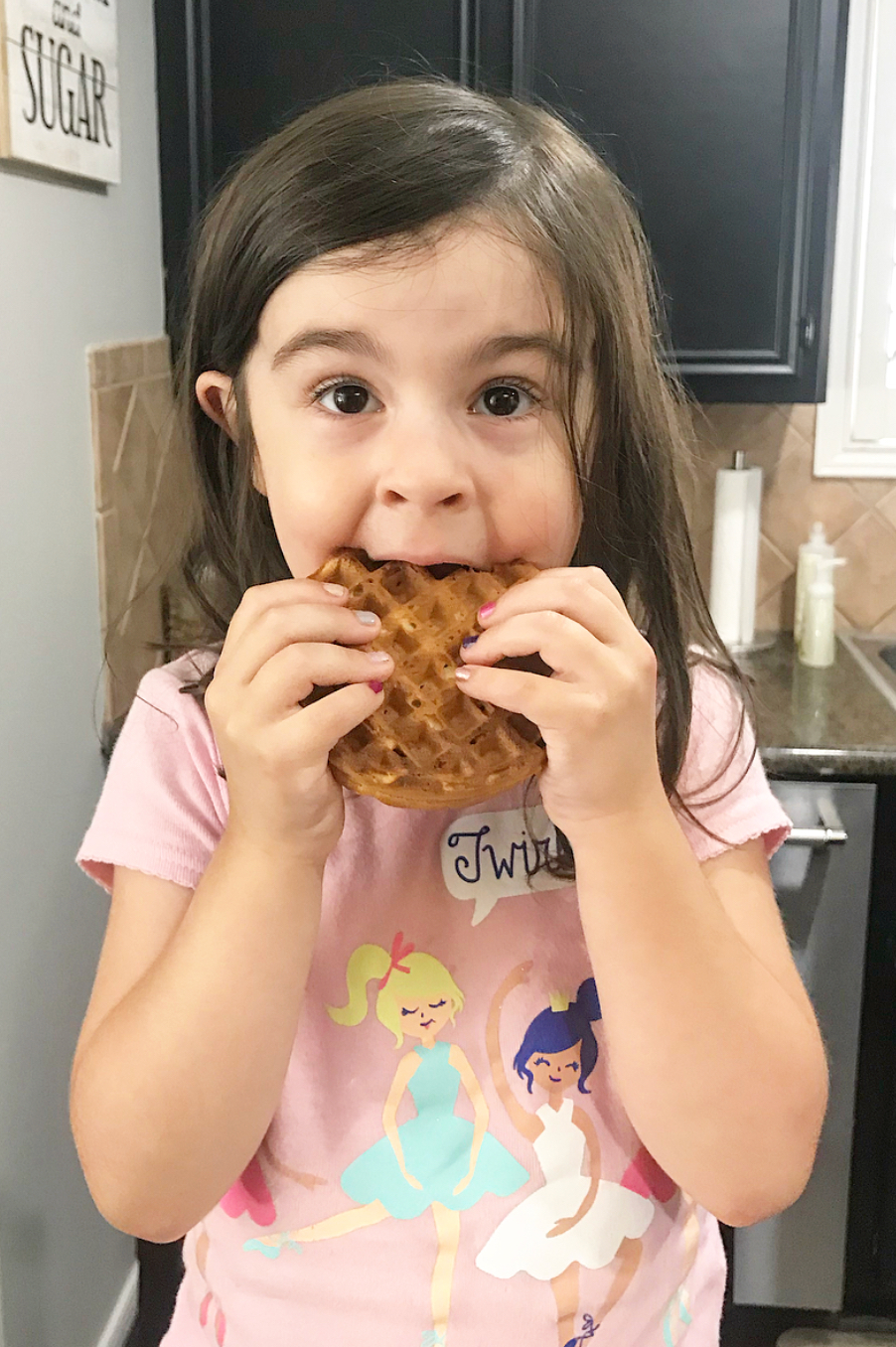 My 4-year-old caught in the act sneaking a waffle!