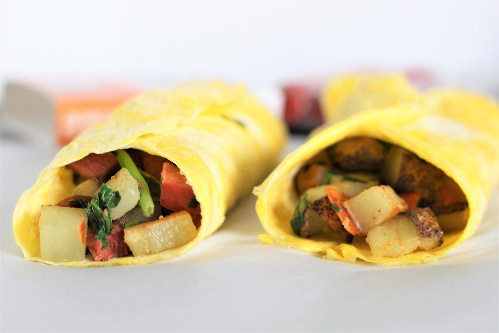 Sausage, Potato, and Greens Egg Wraps