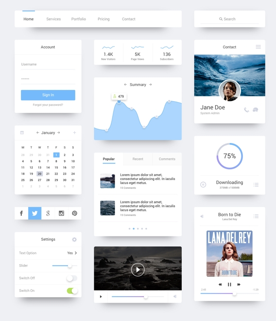Clean, neutral and sleek UI pattern