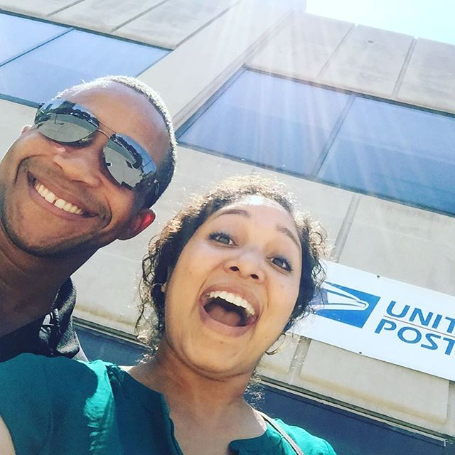 "I don't care that this is the most unflattering angle...we had to get the post office sign in there! Lol!! 😂😂😂Today we mailed off the final version of our film for the #168filmfestival to Cali. I've learned a lot about myself and more about the great God we serve. He has been there every step of the way. I realize if you want to do great things you have to be willing to work hard and sacrifice. Sometimes it doesn't always feel like peaches and cream. Sometimes you feel like crying or wonder if it's all worth it. Always remember your ""why"". Always remember it's not about bringing glory to yourself. What you create is just as important as HOW you create it. The way that you handle obstacles and set backs matters. I'm glad that I got to journey with my co-producer @reggiemcguire aka ""big brother"". This is just the beginning. @mamachub04 @darye #theleavenator"