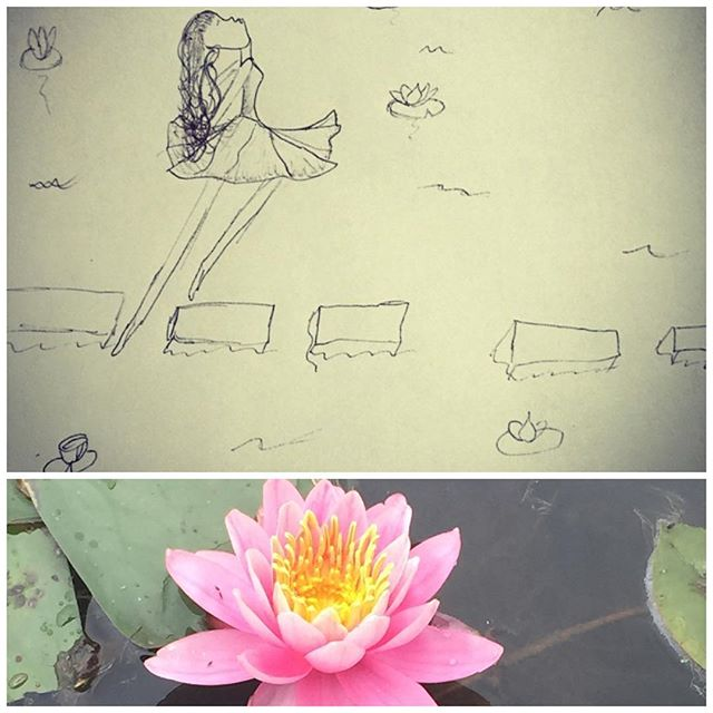 It's been exactly a year since we moved into our home after the shooting and not having our own home for another year. We prayed and saved and tried to heal. We stopped and started our search several times but God had the perfect place waiting for us. Do you see the illustration? My daughter drew that picture (a woman and waterlilies)  a year before we had ever seen our house. Do you see that water lily? It's from the pond in front of our home. Do you see the woman in he picture? That is the opposite of how o felt when she drew it. But now...now I can throw my head back and praise God for all He has done. From the mouth of babes...#inspiring #waterlily @notfatnotskinny_ @darye