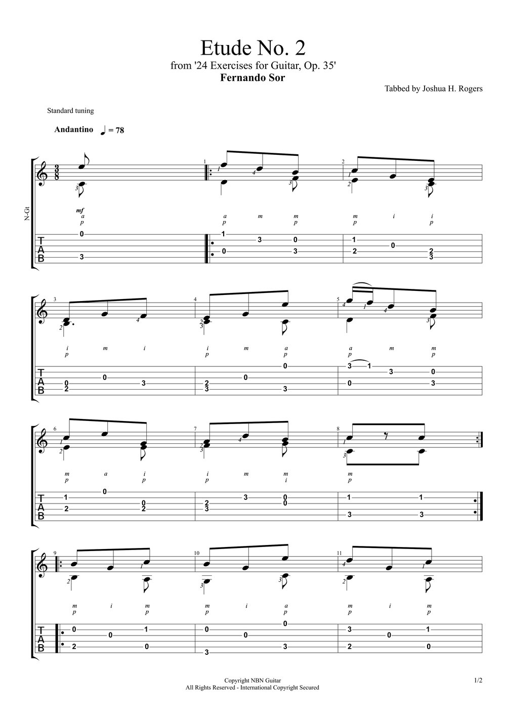Etude No. 2, Op. 35 - Fernando Sor (Sheet Music & Tabs)-p3.jpg