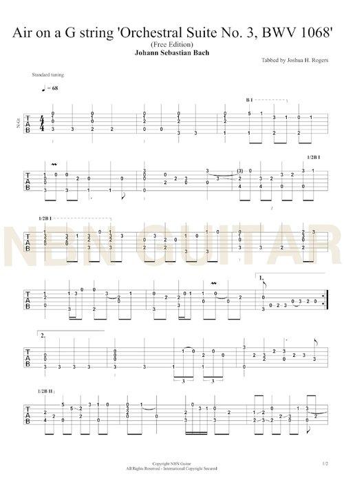 Air On A G String Free Classical Guitar Tabs Nbn Guitar