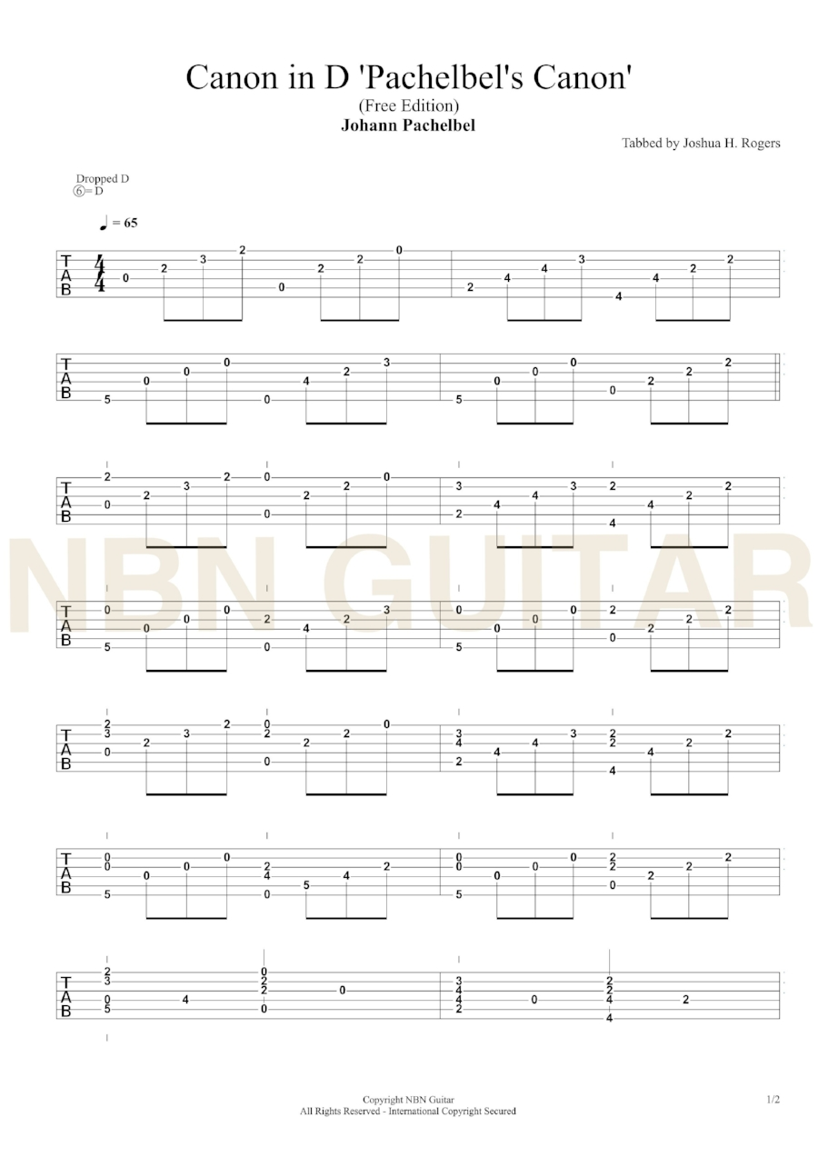 Canon In D Free Cl Ical Guitar Tabs