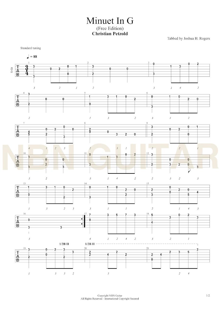 Minuet in G - Free Classical Guitar Tabs — NBN Guitar