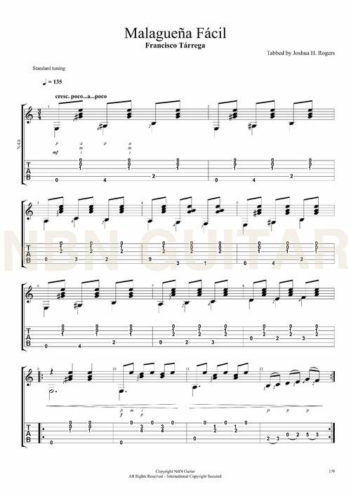 Malaguena Facil - Free Classical Guitar Tabs — NBN Guitar