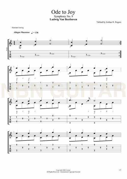 Ode to Joy - Free Classical Guitar Tabs — NBN Guitar