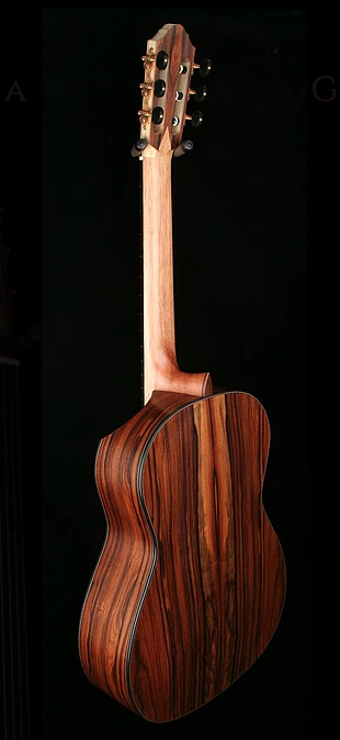 The same Kris Barnett guitar when viewed from the rear. As you can see the indented cutaway removed minimal wood from the guitar.