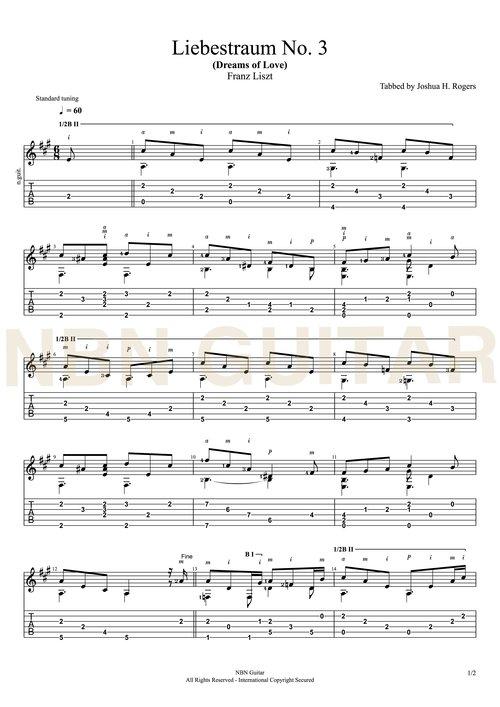 Liebestraum no 3 - Free Classical Guitar Tabs — NBN Guitar