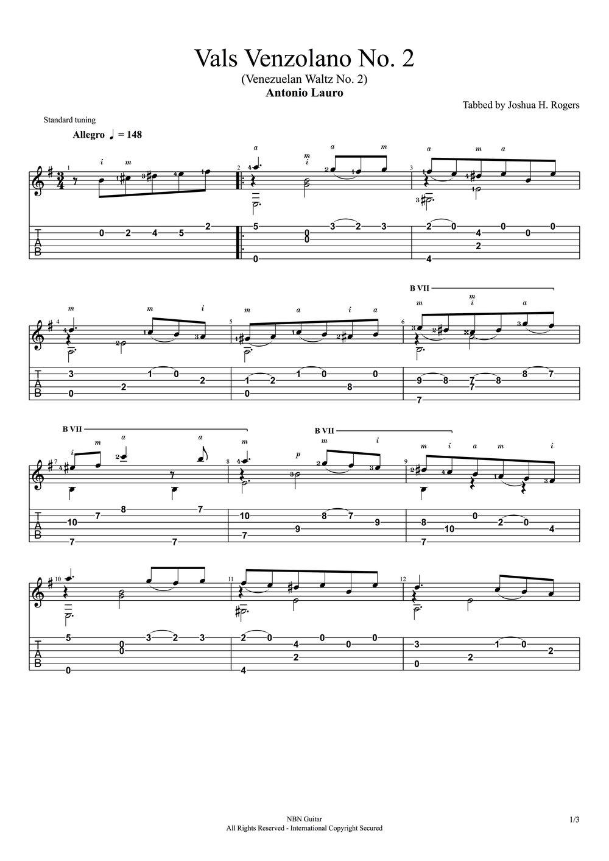 Vals Venzolano No. 2 (Sheet Music & Tabs)-p1.jpg