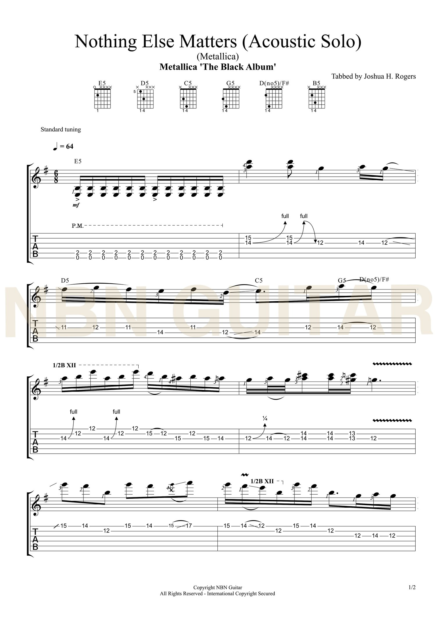 Nothing Else Matters Acoustic Solo Sheet Music Tabs Nbn Guitar