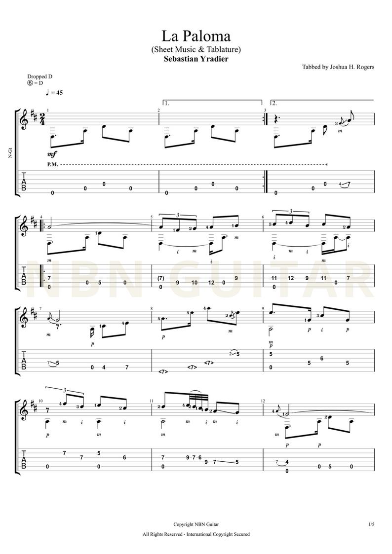 La Paloma Online Classical Guitar Lesson — NBN Guitar