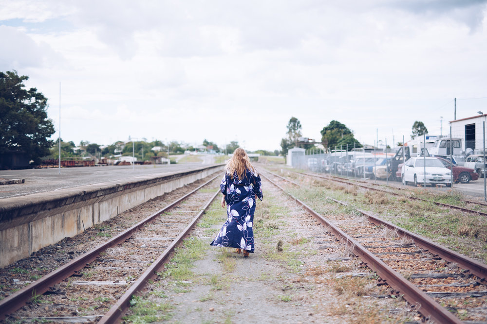 Fashion shoot on old Gympie rail tracks
