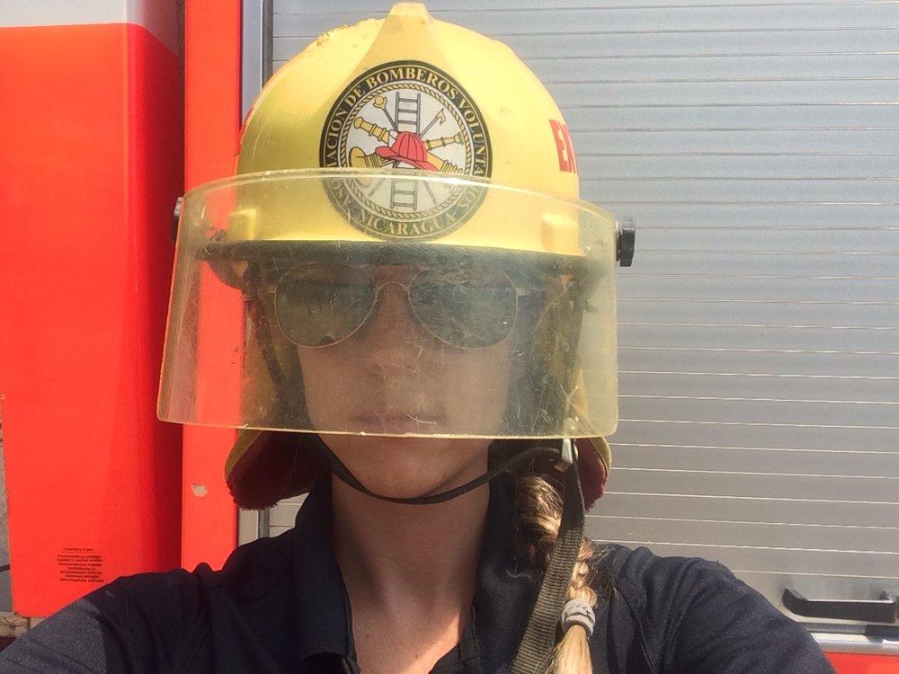 Modeling a fire helmet, 2016.
