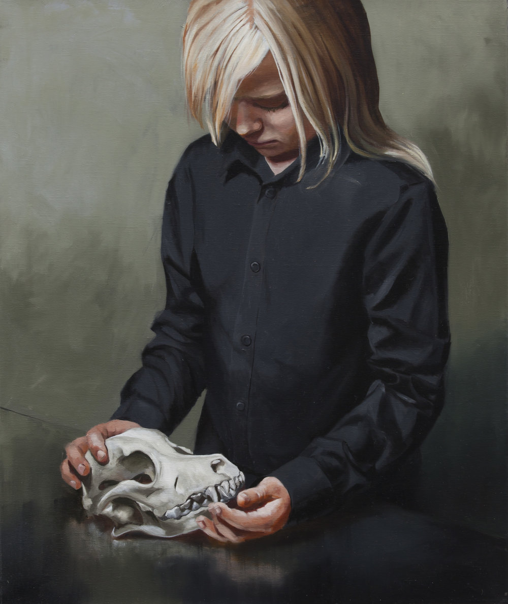 Girl with a pitbull terrier, 2015, Markus Åkesson, 55x46cm, oil on canvas.jpg