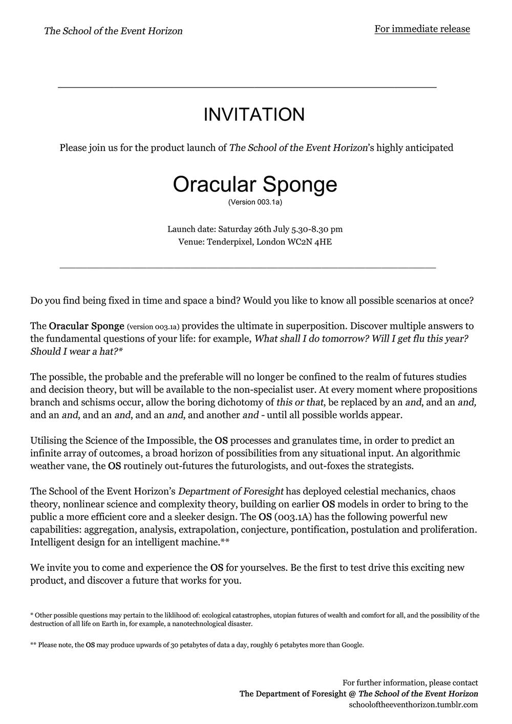 The Oracular Sponge