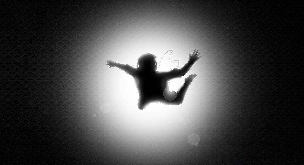 Falling Gamer Silhouette by Nora Panda