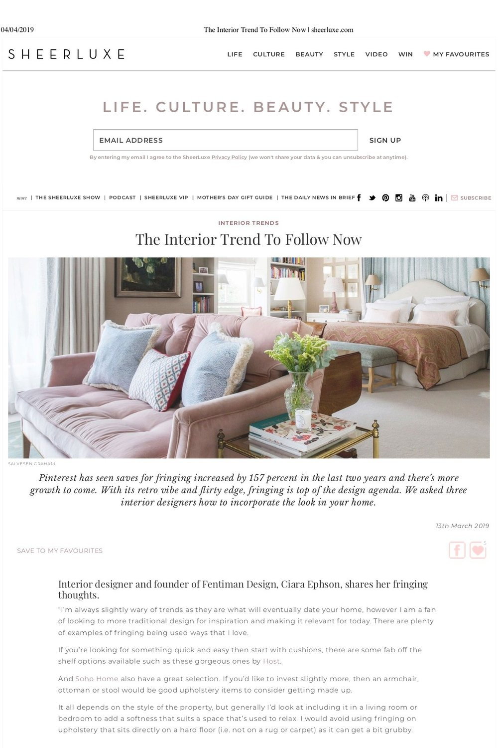 Sheerluxe - The Interior Trend To Follow Now