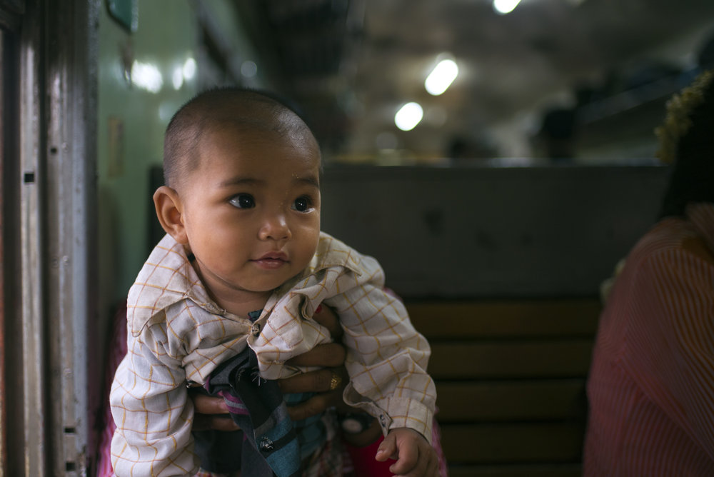 A baby and mother aboard the Mandalay express