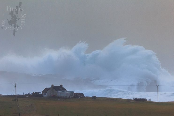 The moment the wave hits the Skerry of Ashiness - Photo: Ryan Sandison