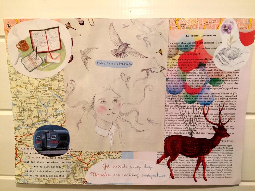 Mijn nieuwste intentie-collage, over schrijven en leven.