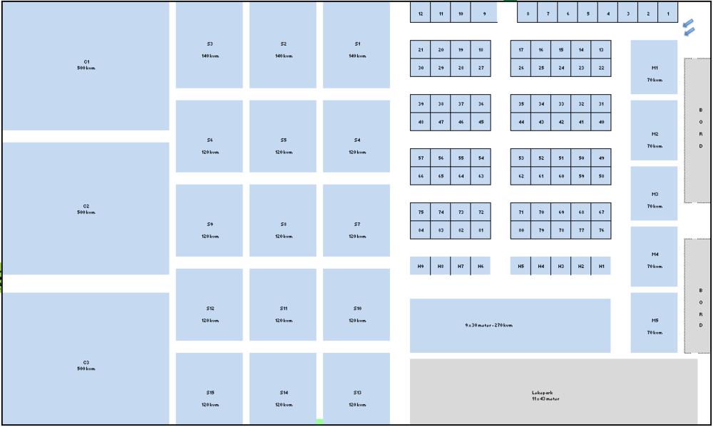 Kart over utstillerplasser i Finnmarkshallen, 11-13 Oktober 2019