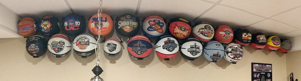 My collection of every Skyline Chili Crosstown Shootout basketball offered since the early 90's