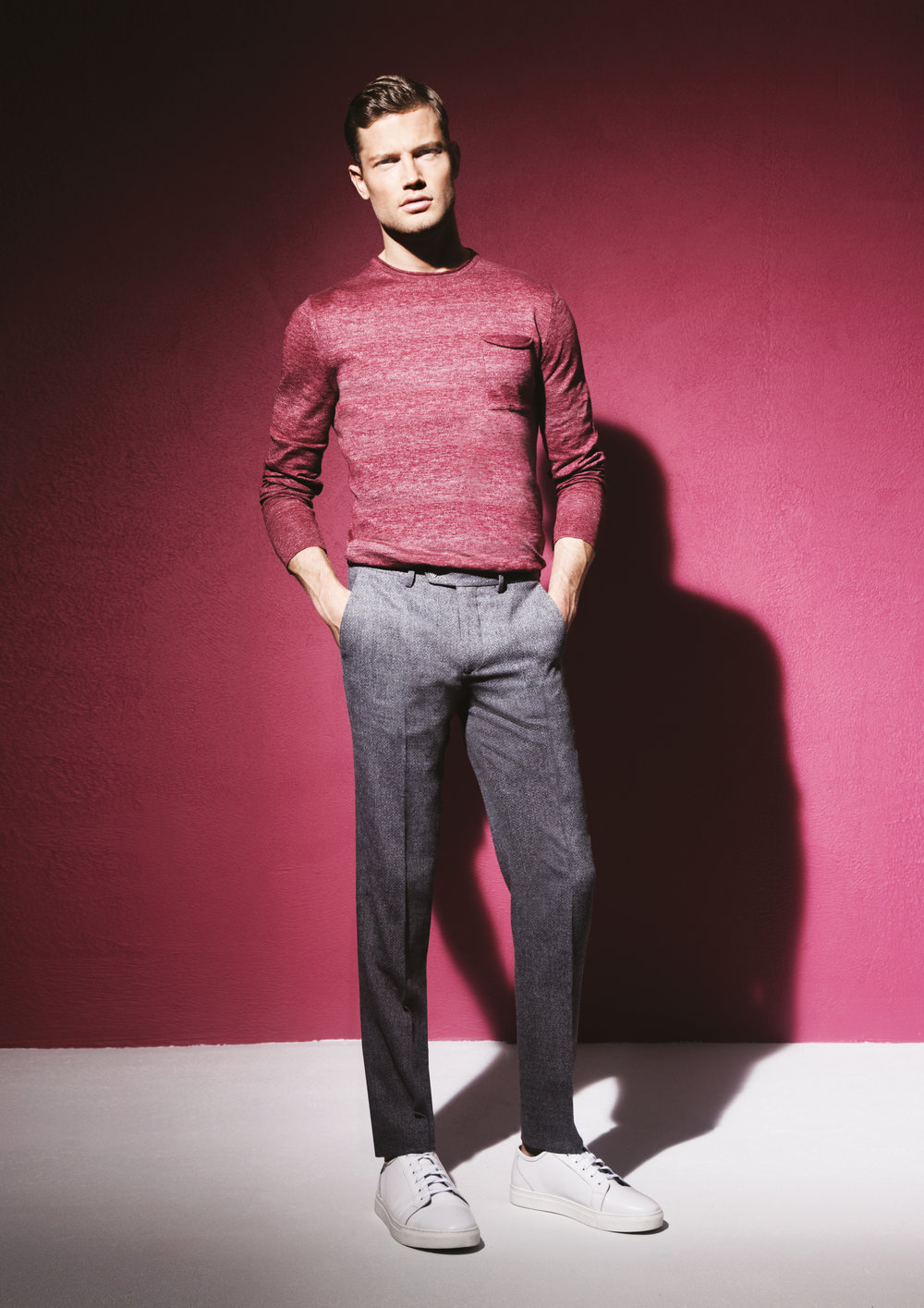 Red Crew Neck Sweater, £59; Grey Slim Leg Trousers, £80; White Leather Trainer, £79.95 @ Remus Uomo.jpg