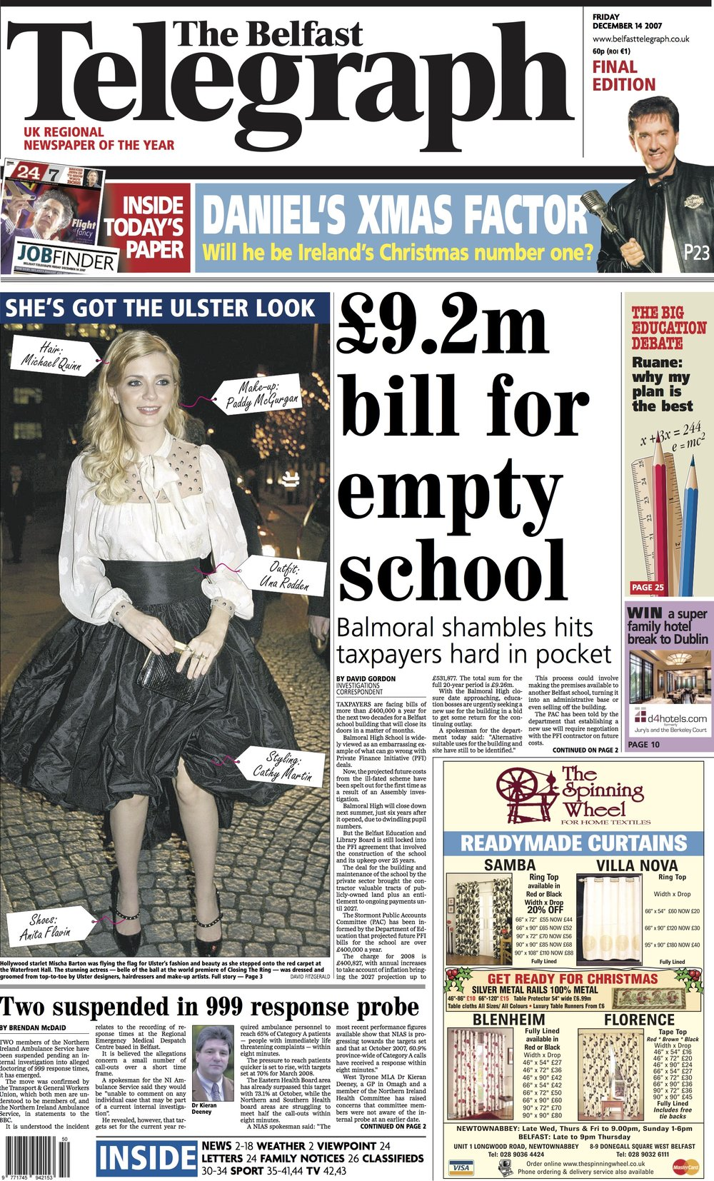 Belfast Telegraph Front Cover_December 14th.jpg