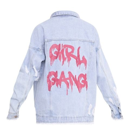 Girl Gang light wash oversizeddenim jacket  £45