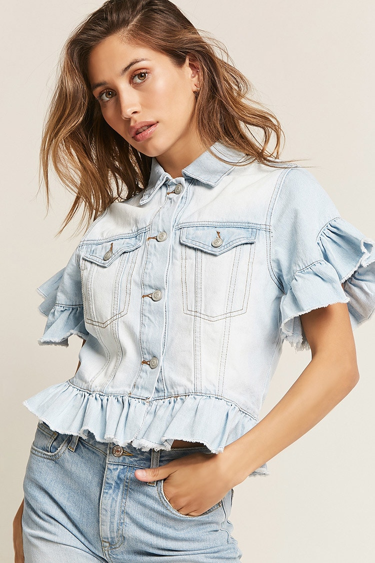 Ruffle Trim Denim Jacket, £55, Forever21. Available at  https://rstyle.me/~akx66