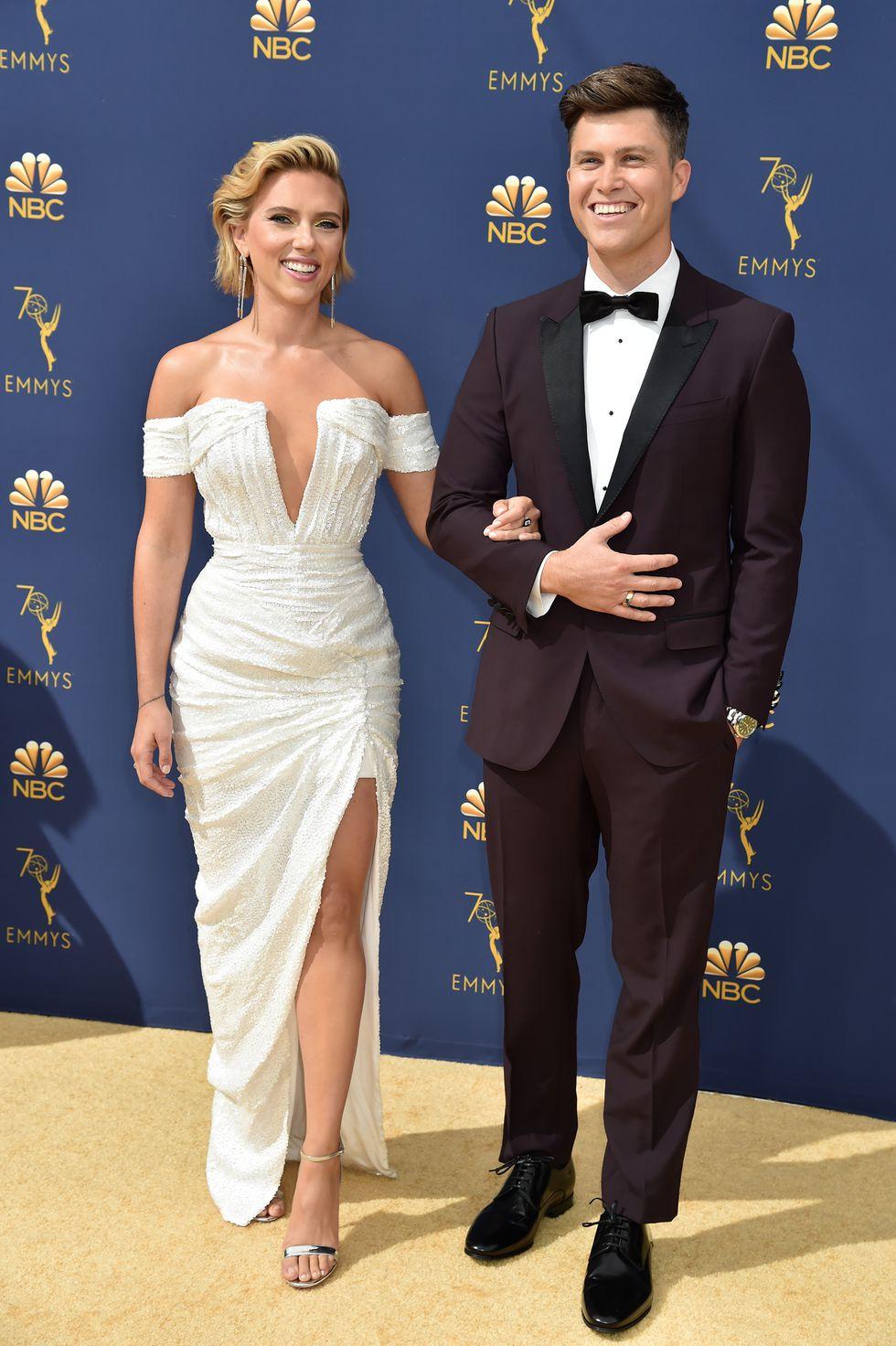 Scarlett Johansson and Colin Jost in Dolce & Gabbana. Scarlett wears Christian Louboutin heels.