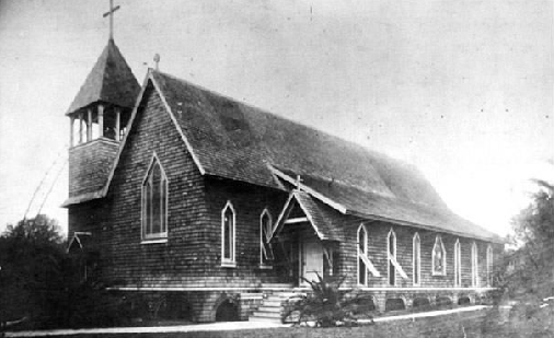 The original wood church building.