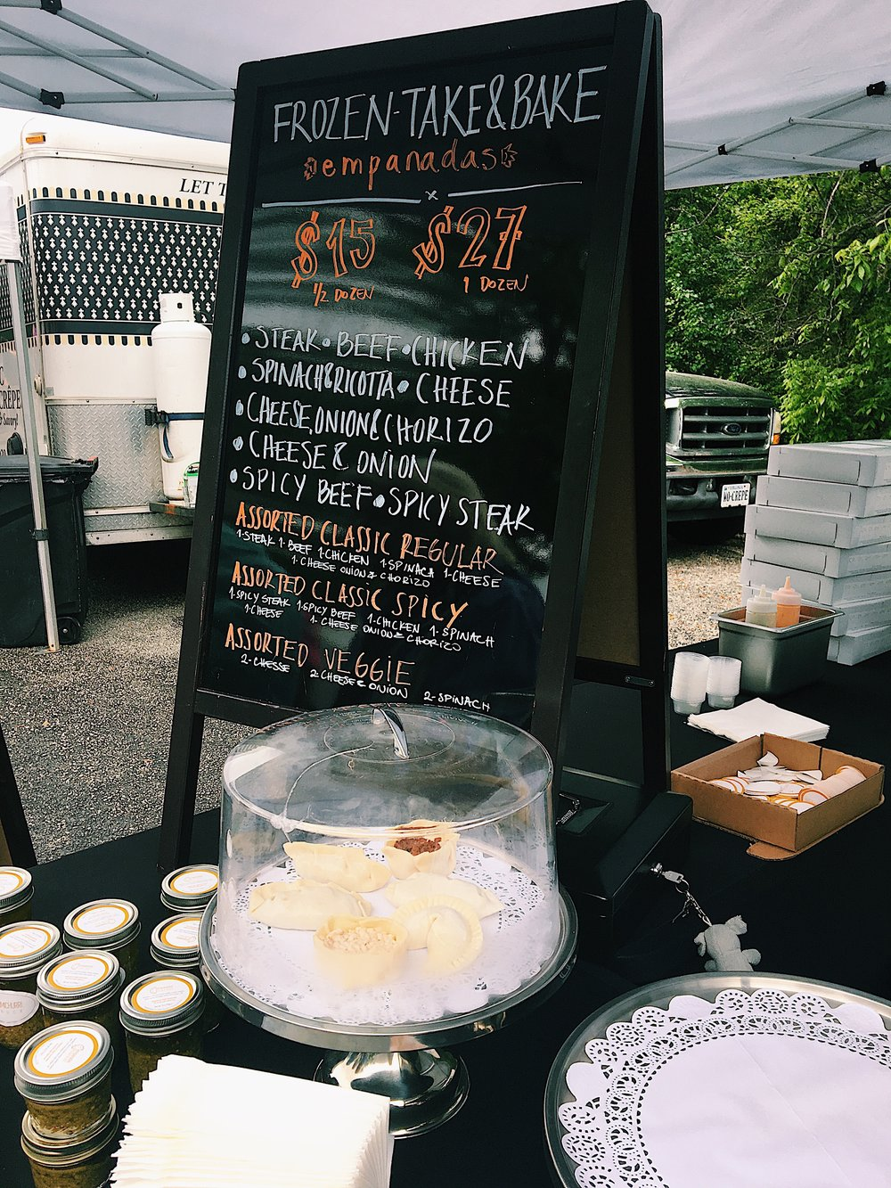 The menu at Empanadas Market - bet you can't eat just one.