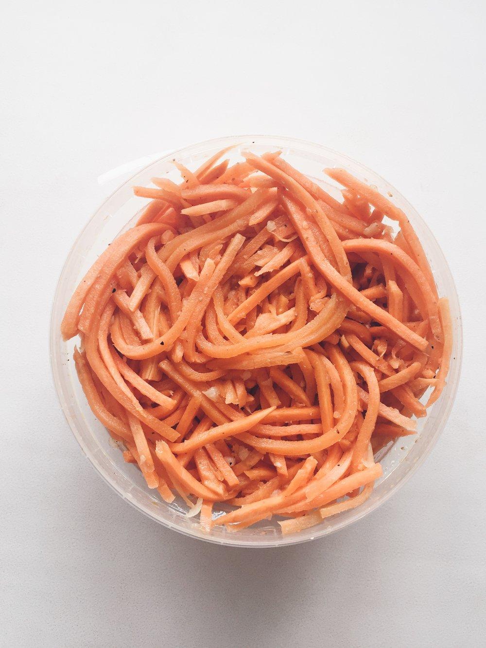 Carrots marinated in garlic.