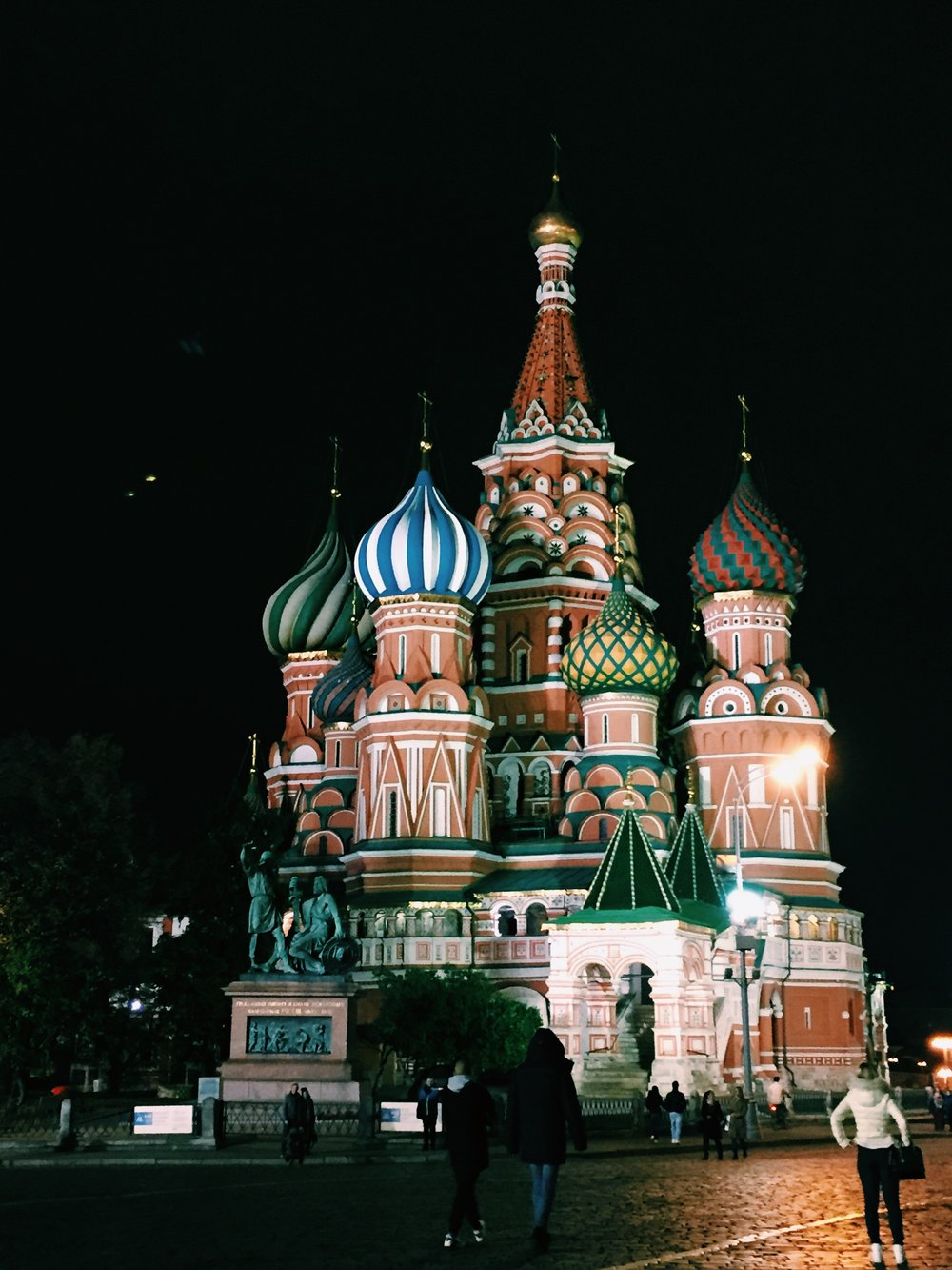 Saint Basil's Cathedral is stunning at night, lit up from every direction.