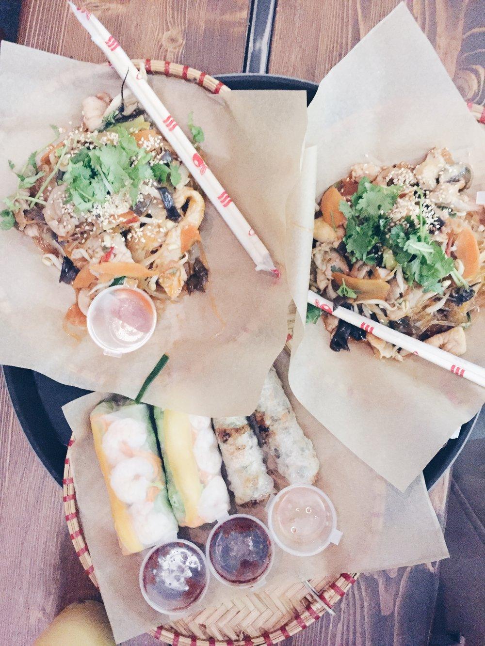 Dinner at Cafe Bo - Nem ran (crispy rolls)Mien xao (glass noodles)Goi Cuon (spring rolls)