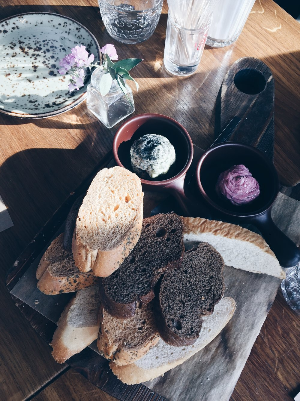 Beetroot butter and black salted butter w/ bread - Starter