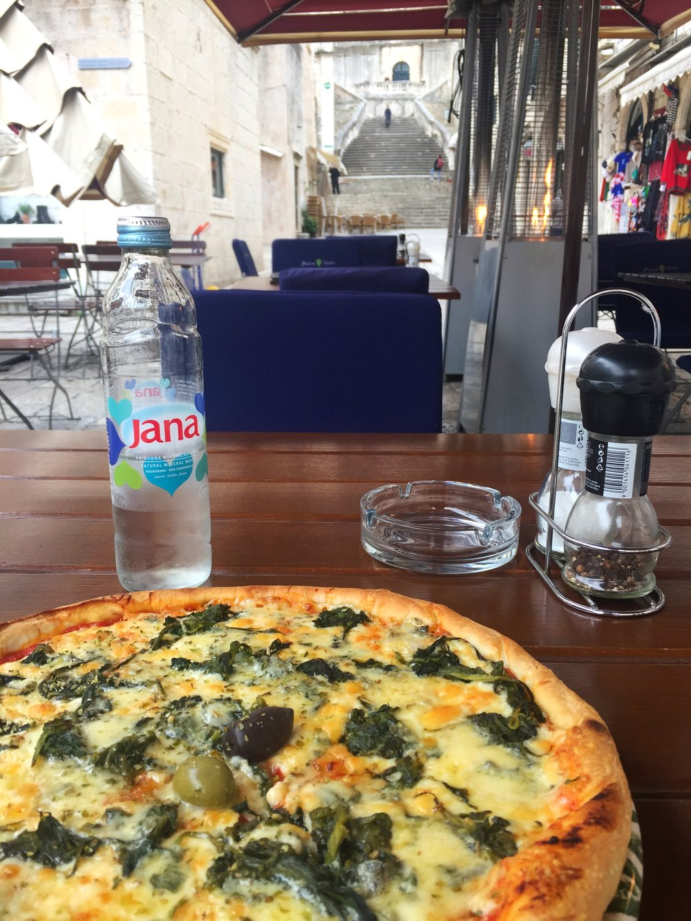 spinach pizza (Dubrovnik)