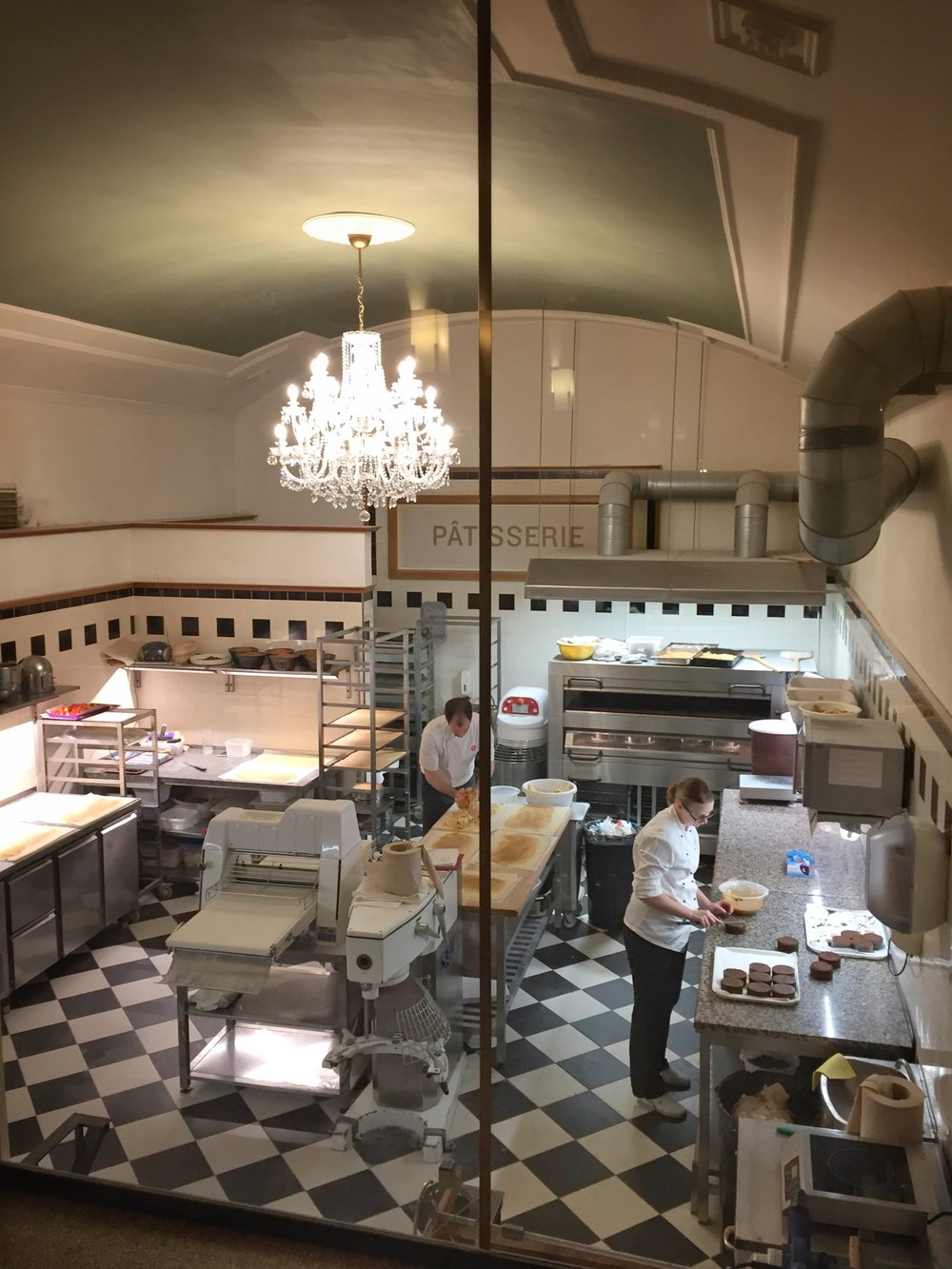 pastry kitchen at Café Savoy