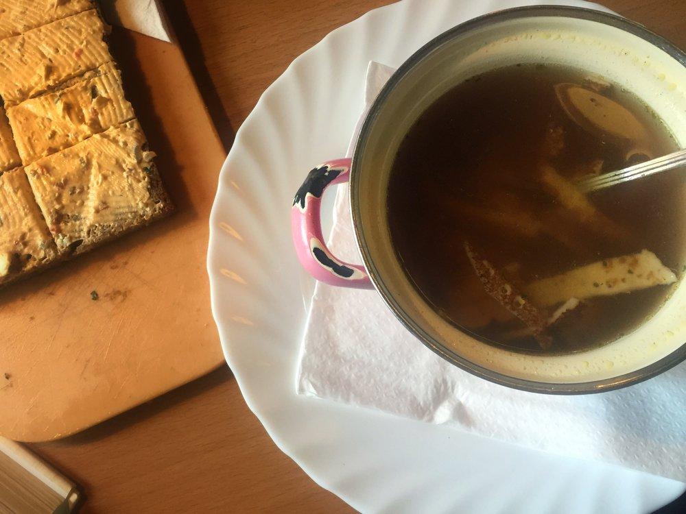 griebenschmalz/bread spread & frittata soup at Centimeter (Vienna)