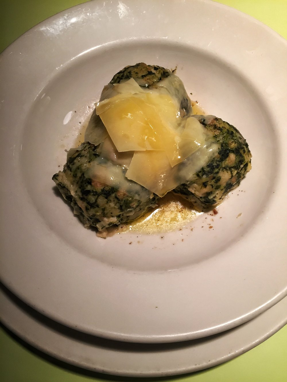 spinach dumplings at Glacis Beisl (Vienna)