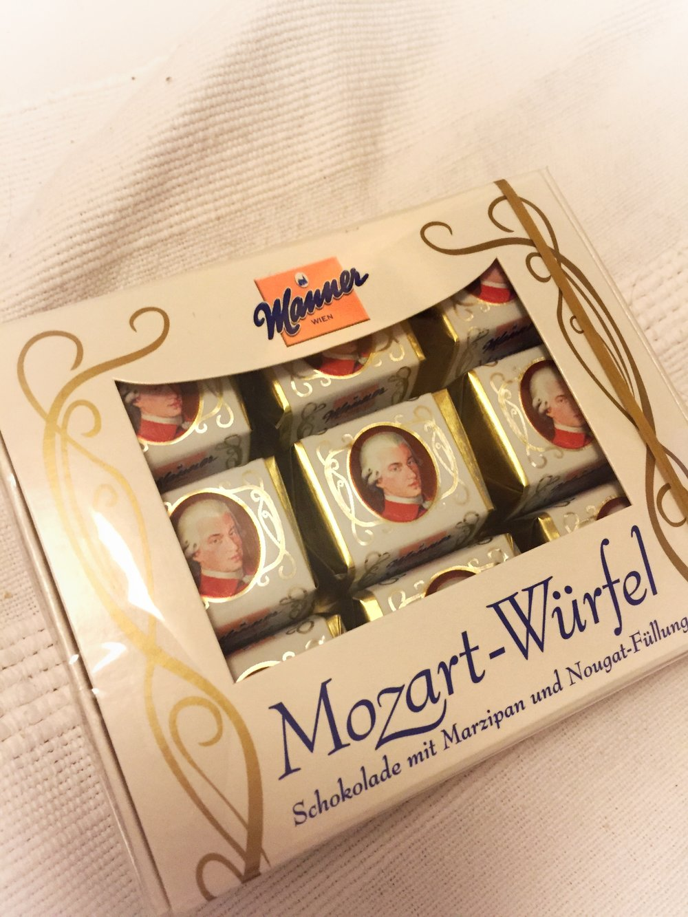 local Manner Mozart-Würfel marzipan chocolates (Vienna)