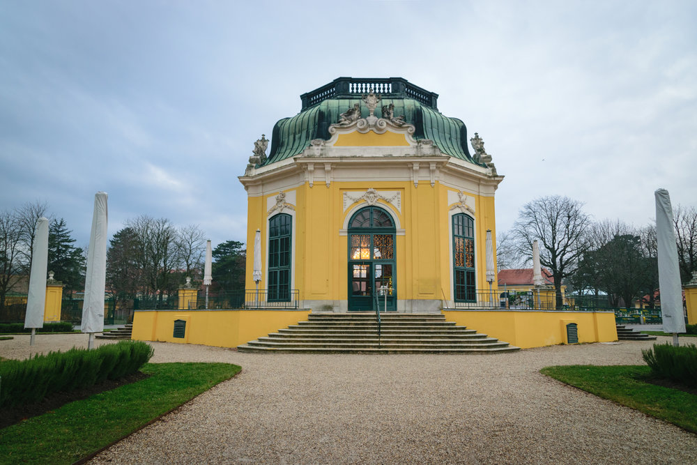 the 1759 pavilion, whose opulent frescoes & mirrors survived bombings