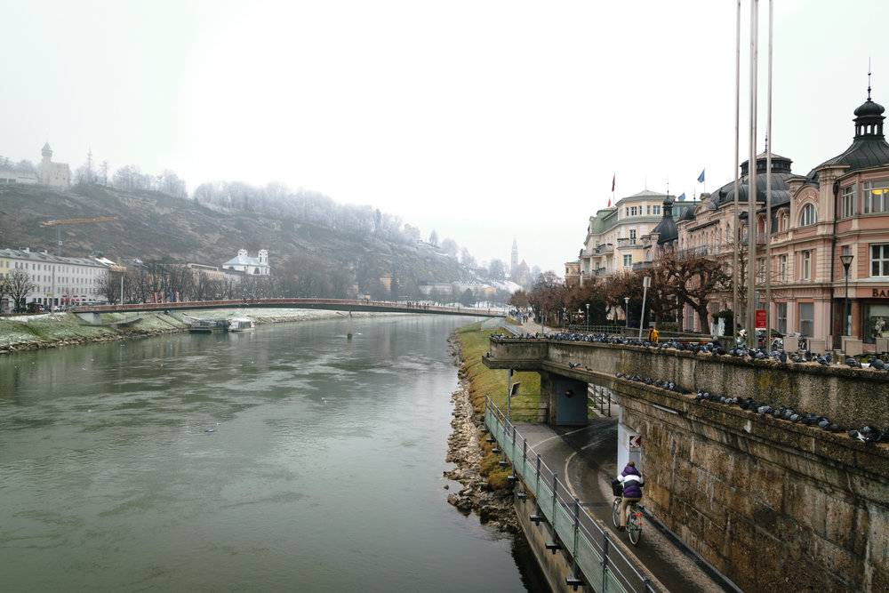 a chilly yet tranquil bike ride in Salzburg