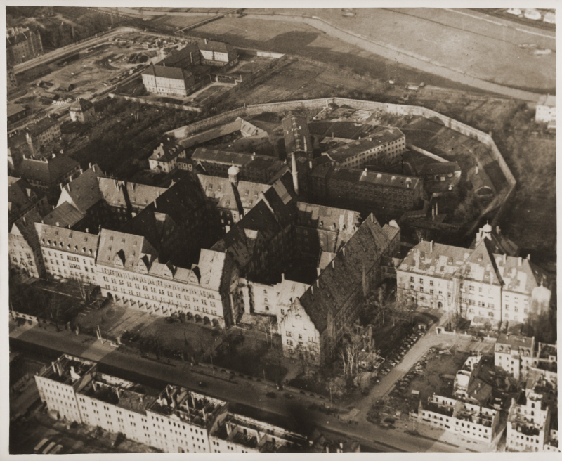 "Nuremberg Palace of Justice or ""Justizpalast""; most of the prison buildings in the rear have been demolished (photo credit: USHMM)"