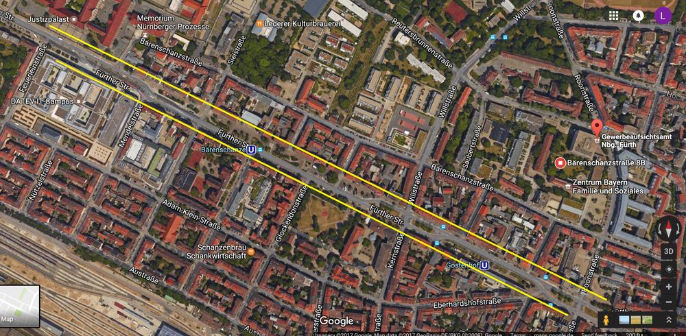 Google Maps view of traffic calming along Fürther Straße