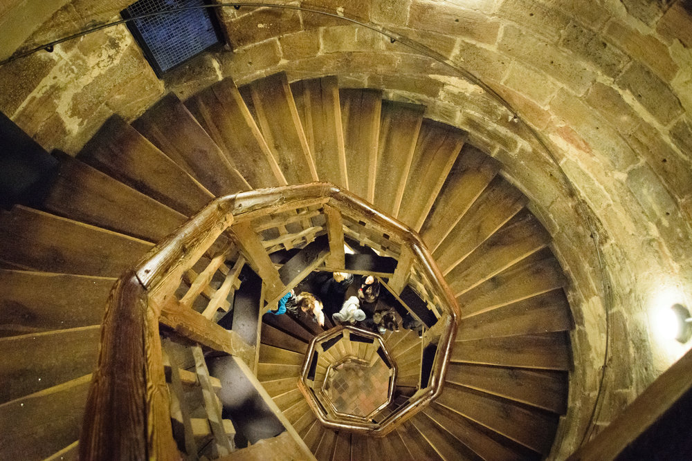 looking down the tower stairwell
